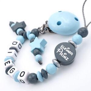 Schnullerkette-mit-Namen-Junge-kleiner-Prinz-Babygeschenk-Geburt-blau-grau