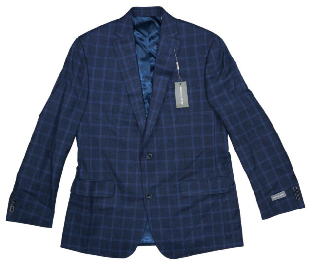 Michael Kors Plaid Kelson 2-Button Men's Sport Coat Blazer 42 Long NWT Navy Blue