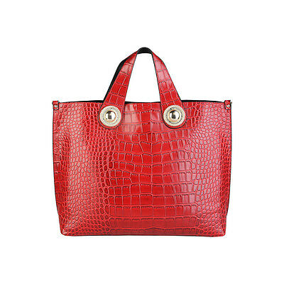 Versace Jeans | Red | Croc Print | Women's Textured Shoulder Bag | RRP £380