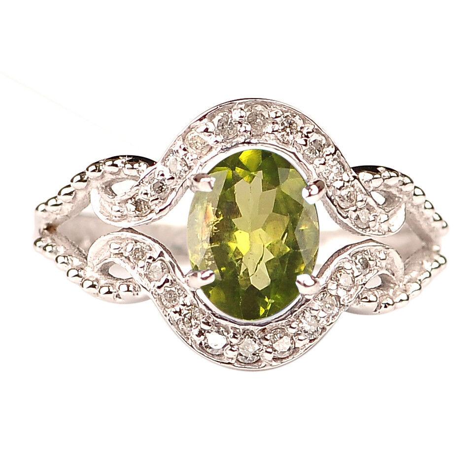 1.75Ct 14KT White gold Oval Cut Natural Peridot IGI Certified Diamond Ring