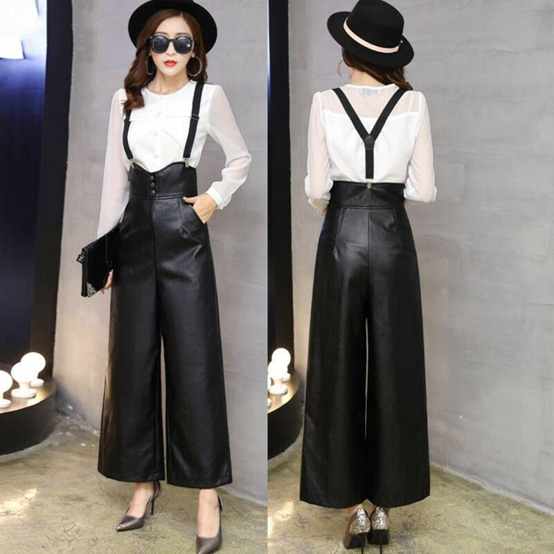 Size S-2XL Women's Loose Fit Casual High Waist Wide Leg Leather Pants Trousers