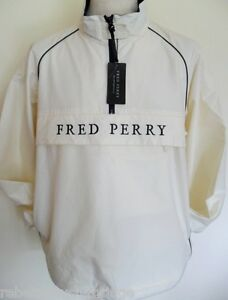FRED-PERRY-Jacket-Mens-1-2-Zip-Over-the-Top-Ecru-Sizes-S-M-L