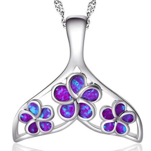 Fashion Woman 925 Silver Mermaid Blue Fire Opal Charm Pendant Necklace Chain !!