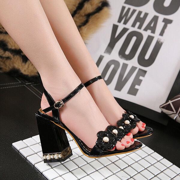 Decolte 11 cm eleganti comodi negro tacco quadrato  sandali pelle sintetica 9935