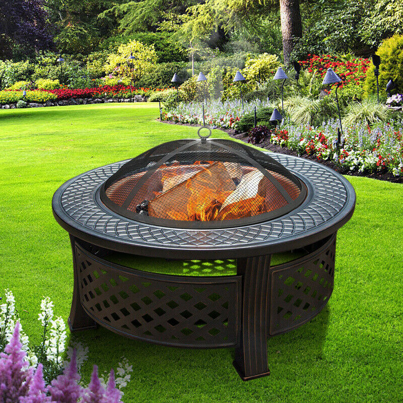 Outdoor Fire Pit Garden BBQ Grill Table Heater Brazier Charc/Wood Burning Large