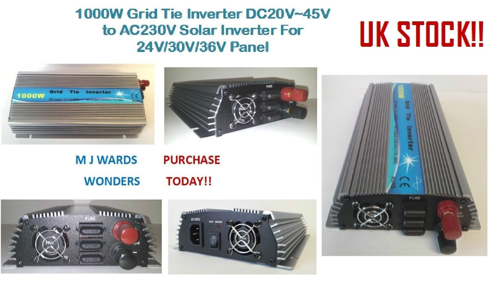 1000W Grid Tie Ingreener DC20V45V to AC220V Solar Ingreener For 24V 30V 36V Panel