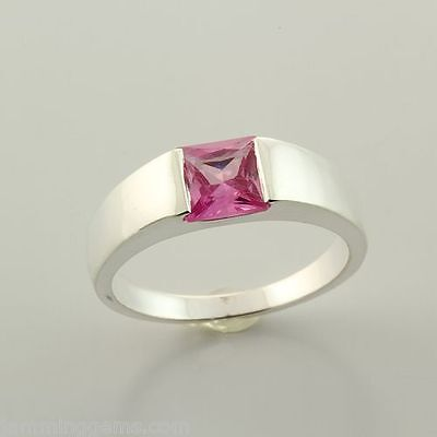 CLEARANCE Sterling Lab Created Pink Sapphire 6mm Princess Cut Ring