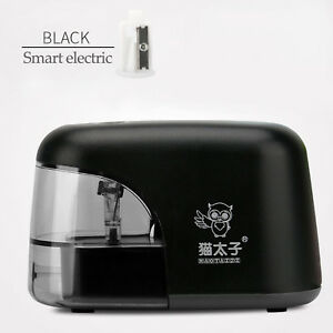 Desktop-Electric-Pencil-Sharpener-Automatic-Battery-Operated-Powered-Black