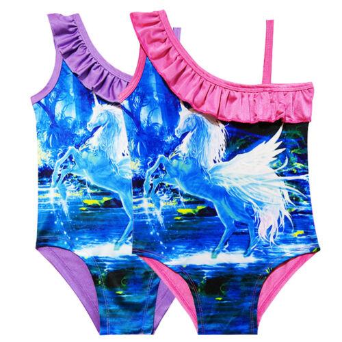 Kids Girls Unicorn Swimwear Monokini Swimming Costume Swimsuit Bikini Bathing 8Y