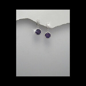 Statement-Formal-Wear-Sterling-Silver-Dangle-Earrings-Purple-Cubic-Zirconia