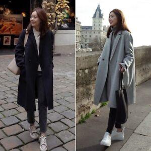 9ca84e965641 Winter Women Warm Wool Lapel Trench Parka Coat Jacket Long Slim ...