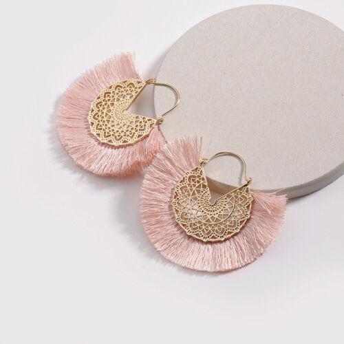 1Pair Bohemian Tassel Earrings Boho Retro Statement Circle Round Fan Drop Women