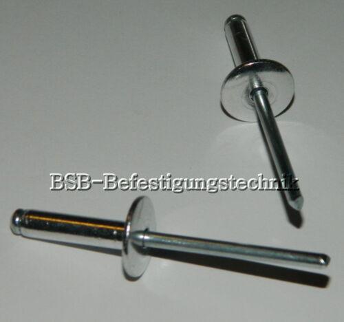 Großkopf Blindnieten  4,0x10 Kopf 12mm ALU//Stahl  4x10 Kopf 12mm 50 Stk