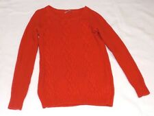 """LADIES GAP XS CHUNKY KNIT CABLE PATTERN ORANGE JUMPER CHEST 32"""" 81cm"""