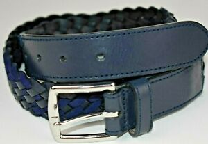NEW-NWT-Mens-Brooks-Brothers-BLUE-Leather-Braided-Belt-Chrome-Buckle