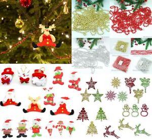 Christmas Tree Hanging Decorations Glitter Snowman Xmas Beads