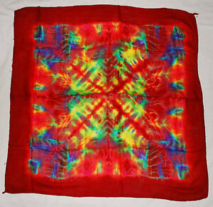 New Bright Tie Dye Square Scarf Hippy Fairly Traded Ethnic Psy Trance