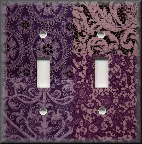 Metal Light Switch Plate Cover - Lace Gypsy Patchwork Dark Purple Home Decor