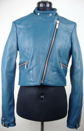 Nuovo pelle Jacket Bikkembergs Leather 36 etichetta Giacca Lady Dirk in Ladies taglia con blu P6pwE