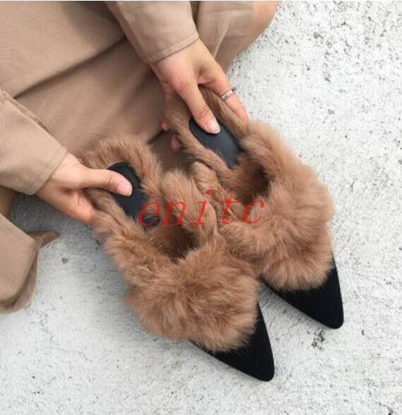 19 Real Ribbit doubleure en fourrure fourrure compensés à bout pointu à Enfiler Mocassins Mules Chaud Plat Chaussures