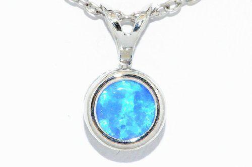 Blue Opal 6mm Round Shape Bezel Pendant .925 Sterling Silver