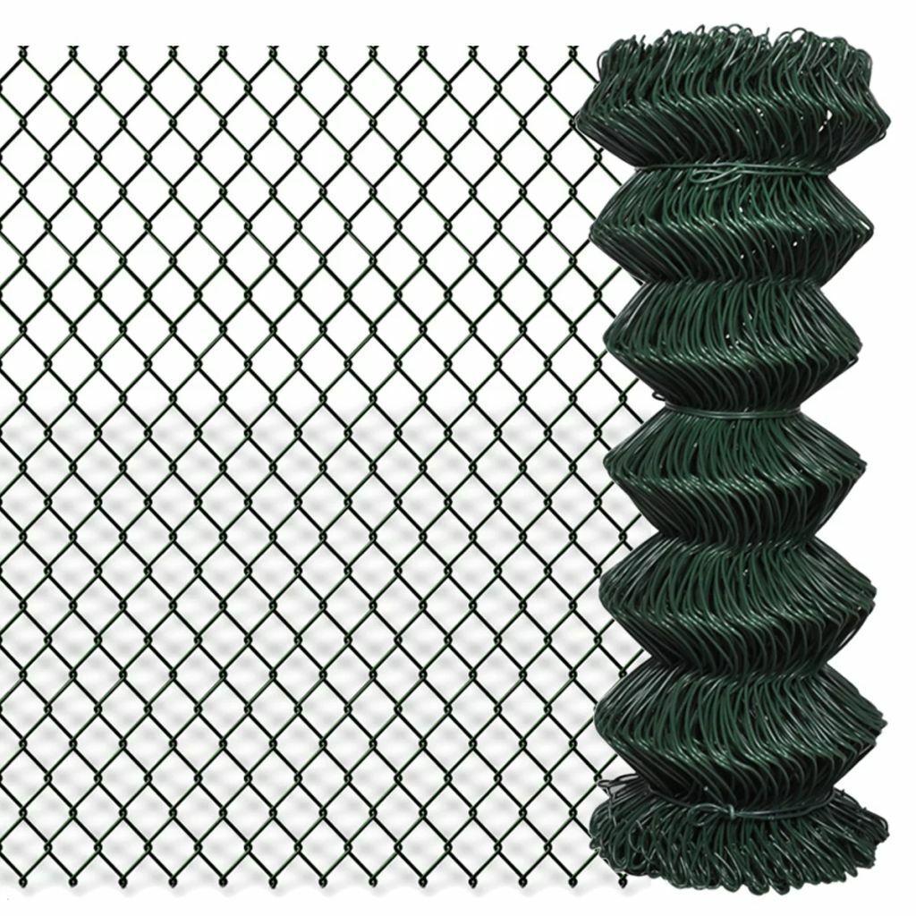 vidaXL Valla de Malla Acero Galvanizado Verde 1x15 m Tensión Cerca Alambrada