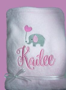 Personalised-Baby-Blanket-Cot-Pram-Elephant-Any-Name-75cmx-90cm-Gift-Embroidery