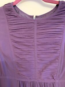 BURBERRY-Purple-Silk-Long-Sleeve-Round-neck-Ruffled-Zip-Back-Dress-Size-8-IT44