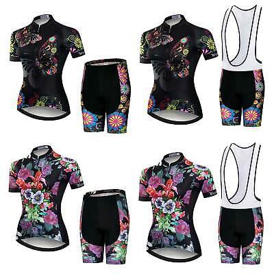 Trägerhose Sitzpolster Set Damen Rennrad Bekleidung Radsport Trikot und Shorts