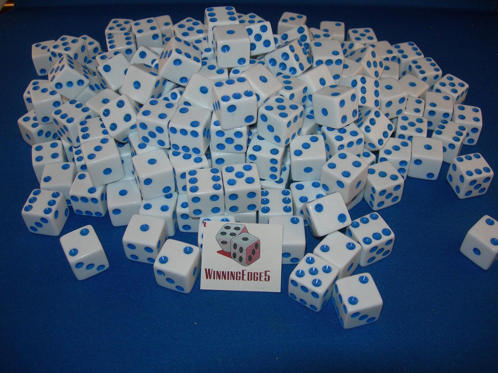 Dados blancoo con ecos Azul 16mm (200 Pack) Bunco Fiesta Envío Gratis