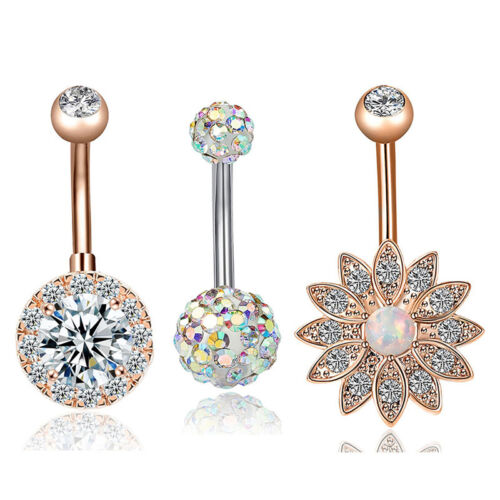 3x//Set Stainless Steel Crystal Opal Belly Button Rings Navel Piercing Jewelry /_7