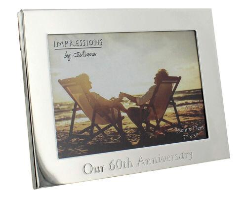 60th Anniversaire De Mariage Cadeaux Diamant Mariage Plaqué Argent 7 x 5 Cadre Photo