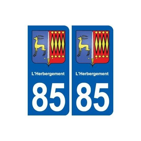 85 L'Herbergement blason autocollant plaque stickers ville arrondis