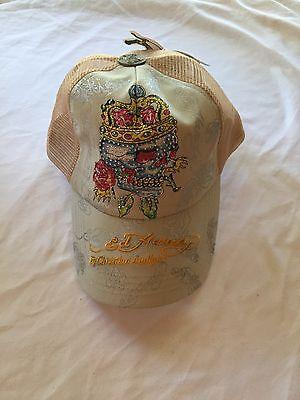 3811bca4fcb NWT Tan Ed Hardy Skull Crown Rhinestone Baseball Cap Hat