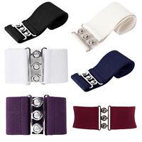 Lady Womens Celeb Style Waist Band Elastic Metal Waist Belt Wide Belts S M L XL