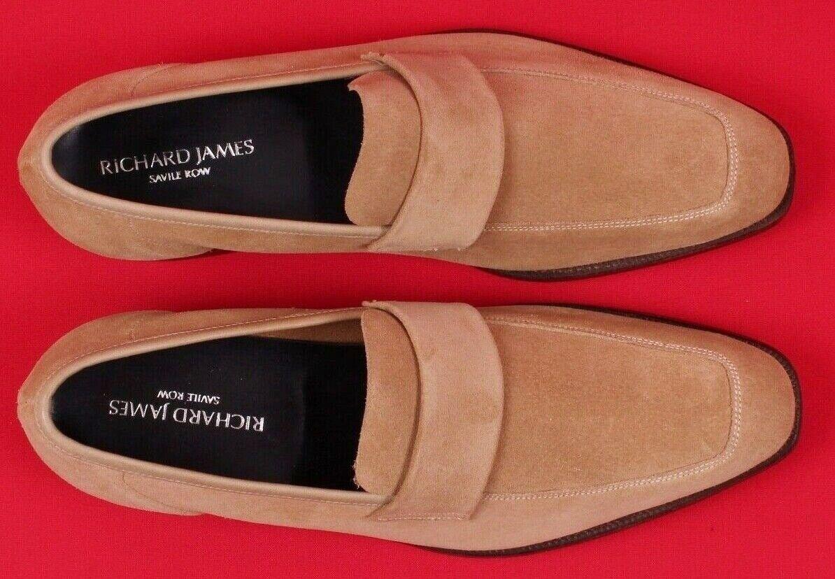 RICHARD JAMES SAVILE ROW Beige Leather Suede Walton Loafers shoes UK7 EU40 US8
