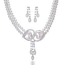 SET Collier e orecchini Perle Collana Di Strass Doppio Cuore