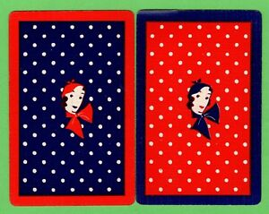 2 Single VINTAGE Playing/Swap Cards PEOPLE DECO LADIES HEAD HAT SCARF PE30