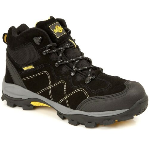 NORTHWEST Mens Lightweight Leather Steel Toe Cap Safety Work Trainers Boots Size