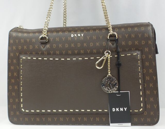 DKNY BRYANT Signature Logo TOP ZIP TOTE Handbag Brown R74A4009  248 NEW fdd8e89fddf40