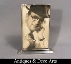 French-Art-Deco-Chrome-plated-Metal-Photo-or-Picture-Frame-13x8cm