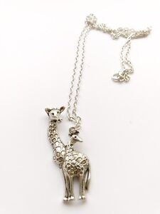 Antique Silver Plt Giraffe /& Baby Pendant Necklace Ladies Gift Zoology Animal