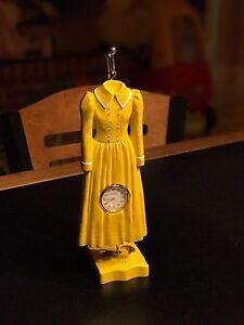 Bonetto Little Dress Time Style 7, Hang Clock Mantel Desk Shelf Vintage Yellow