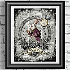Bianco Coniglio Alice nel paese delle meraviglie libro DIZIONARIO pagina Stampa Poster tatuaggio Arte