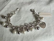 Beautiful Clasp Bracelet Silver Tone Charms Chris Banks 71/4-8 x 7/8 Org Label