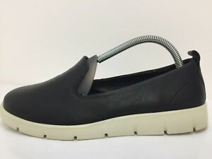 Ecco-Black-Leather-Moccasin-Loafers-Casual-Comfort-Shoe-Women-Size-UK-4-5