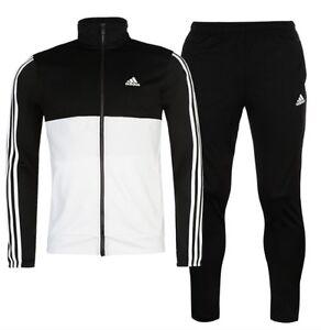 Details zu Adidas 3 Stripe Herren Trainingsanzug Tracksuit Jogginganzug  Schwarz Weiß Sport