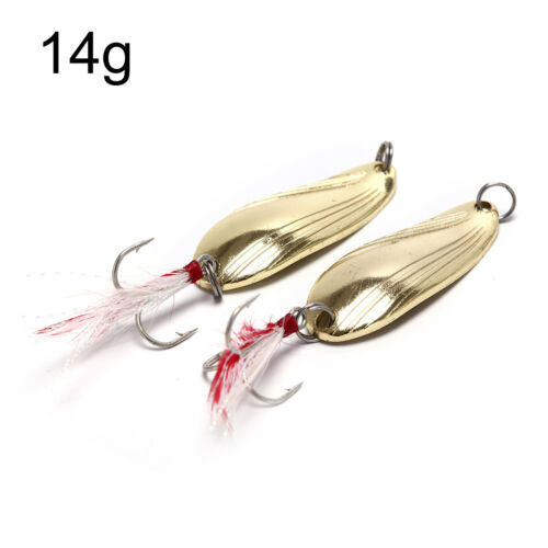 2X Fishing Spoon Lure Treble Feather Hook Spinner Baits Golden Silvery Colo F YE