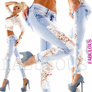 New-Women-039-s-Slim-Fit-Skinny-Leg-Jeans-Size-10-12-14-6-8-XS-S-M-L-XL-Blue-White