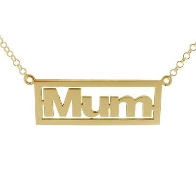375 SOLID 9CT GOLD JEWELLERY FRAMED MUM PENDANT CHAIN NECKLACE MOTHERS DAY GIFT